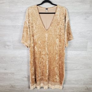 Freepeople The Luxe Crushed Velvet Hi-Lo Tee Gold